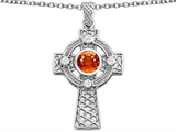 Star K™ Celtic Cross Pendant Necklace 7mm Round Simulated Orange Mexican Fire Opal style: 308321