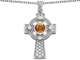 Star K™ Celtic Cross Pendant Necklace with 7mm Round Simulated Imperial Yellow Topaz style: 308323