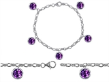 Star K™ High End Tennis Charm Bracelet With 5pcs 7mm Round Genuine Amethyst style: 308333