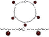 Star K™ High End Tennis Charm Bracelet With 5pcs 7mm Round Genuine Garnet style: 308338