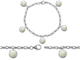 Star K™ High End Tennis Charm Bracelet With 5pcs 7mm Round Simulated Opal style: 308340