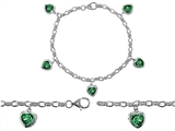 Star K™ High End Tennis Charm Bracelet With 5pcs 7mm Heart Shape Simulated Emerald style: 308341