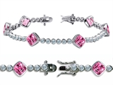 Star K™ High End Tennis Bracelet With 6pcs 7mm Cushion Cut Simulated Pink Tourmaline style: 308344