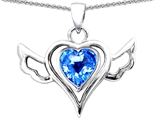 Star K™ Wings Of Love Pendant Necklace with Heart Shape Simulated Blue Topaz style: 308353