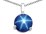 Tommaso Design™ 7mm Round Simulated Star Sapphire Pendant Necklace style: 308360