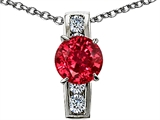 Original Star K™ 7mm Round Created Ruby Pendant style: 308362