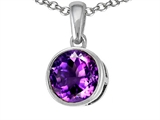 Tommaso Design™ 7mm Round Genuine Amethyst Pendant Necklace style: 308364