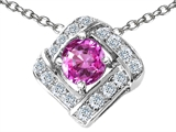 Star K™ Round Created Pink Sapphire Pendant Necklace style: 308368