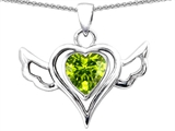 Star K™ Wings Of Love Pendant Necklace with Heart Shape Simulated Peridot style: 308370