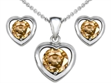 Star K™ Round Simulated Imperial Yellow Topaz Heart Earrings With Matching Pendant style: 308371
