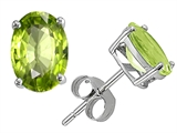 Original Star K™ Classic Oval Earrings Studs with Genuine Peridot style: 308381