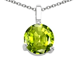 Tommaso Design™ 7mm Round Genuine Peridot Pendant Necklace style: 308418