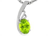 Tommaso Design™ Oval Genuine Peridot Pendant Necklace style: 308420
