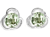 Star K™ Round Green Amethyst Flower Earrings Studs style: 308429