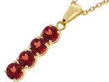 Tommaso Design™ Long Genuine Rhodolite Garnet Straight Journey Pendant Necklace style: 308443
