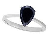 Tommaso Design™ Genuine Black Sapphire Pear Shape Solitaire Engagement Ring style: 308444