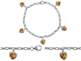 Star K™ High End Tennis Charm Bracelet With 5pcs 7mm Heart Shape Genuine Citrine style: 308454
