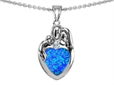 Star K™ Loving Mother And Father With Child Family Pendant Necklace With Heart Shape 8mm Blue Created Opal style: 308467