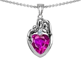 Star K™ Loving Mother And Father With Child Family Pendant Necklace With Heart Shape 8mm Created Pink Sapphire style: 308470