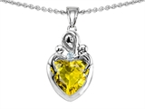 Star K™ Loving Mother with Twins Children Pendant Necklace With 8mm Heart Simulated Yellow Sapphire style: 308495