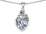 Star K™ Loving Mother with Twins Children Pendant Necklace With 8mm Heart Genuine White Topaz style: 308496