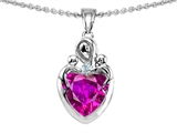 Star K™ Loving Mother with Twins Children Pendant Necklace With 8mm Heart Simulated Pink Tourmaline style: 308499