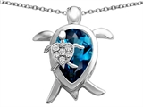 Star K™ Large Mother and Baby Lucky Turtle family Pendant Necklace with 12x8mm Pear Shape Simulated Blue Topaz style: 308512