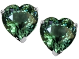 Star K™ 7mm Heart Shape Simulated Green Tourmaline Earrings Studs style: 308536