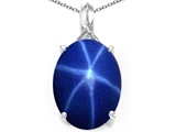 Tommaso Design™ Created Oval Star Sapphire and Diamond Pendant Necklace style: 308556