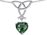 Star K™ Love Knot Pendant Necklace with Heart Shape 8mm Simulated Green Tourmaline style: 308570