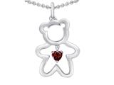 Star K™ Love Teddy Bear with 4mm Heart Shape Simulated Garnet style: 308572