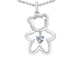 Star K™ Love Teddy Bear with 4mm Heart Shape Genuine White Topaz style: 308573