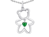 Star K™ Love Teddy Bear with 4mm Heart Shape Simulated Emerald style: 308578