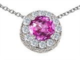 Star K™ Round 6mm Created Pink Sapphire Halo Pendant Necklace style: 308589