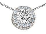 Star K™ Round 6mm Genuine White Topaz Halo Pendant Necklace style: 308590