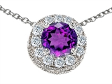 Star K™ Round 6mm Simulated Amethyst Halo Pendant Necklace style: 308591