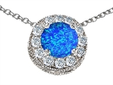 Star K™ Round 6mm Blue Created Opal Halo Pendant Necklace style: 308592