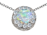 Star K™ Round 6mm Created Opal Halo Pendant Necklace style: 308594