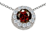 Star K™ Round 6mm Simulated Garnet Halo Pendant Necklace style: 308595