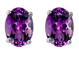 Star K™ Oval 8x6mm Genuine Amethyst Earrings Studs style: 308611