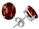Star K™ Oval 8x6mm Genuine Garnet Earrings Studs style: 308612