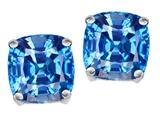 Star K™ Cushion Cut 7mm Genuine Blue Topaz Earrings Studs style: 308617