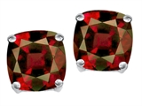 Star K™ Cushion Cut 7mm Genuine Garnet Earrings Studs style: 308618