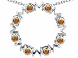"""Star K™ Large MOM Circle Mother""""s Pendant Necklace with Round Simulated Imperial Yellow Topaz style: 308697"""