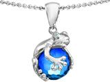 Original Star K™ Frog Pendant With 10mm Simulated Blue Topaz Ball style: 308745