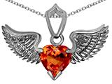 Star K™ Wing of Love Pendant Necklace with 8mm Heart Shape Simulated Orange Mexican Fire Opal style: 308864