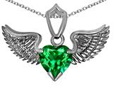 Star K™ Wing of Love Pendant Necklace with 8mm Heart Shape Simulated Emerald style: 308868