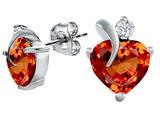 Star K™ 8mm Heart Shape Simulated Orange Mexican Fire Opal Heart Earrings style: 309004