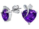 Star K™ 8mm Heart Shape Simulated Amethyst Heart Earrings style: 309007