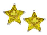 Star K™ Fancy Star Cut Earrings Studs with Simulated Citrine style: 309068